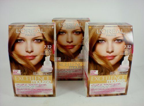LOreal 3 X Excellence Mousse Foam Hair Dye Colourant Caramel >>> Click image for more details.