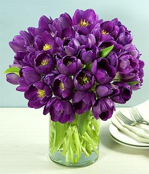 Purple tulips: Colors Purple, Favorite Flowers, Spring Flowers, Purple Tulips, Kitchens Tables, Beautiful Flowers, Purple Centerpieces, Dark Purple, Center Pieces
