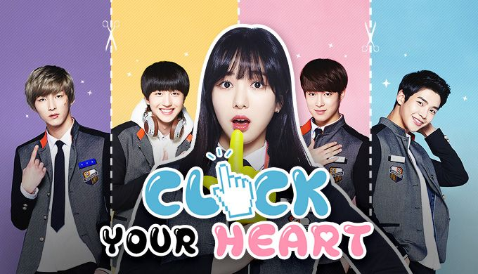 https://www.dramafever.com/drama/4888/Click_Your_Heart/ Starring AOA's Min Ah as an endearing outcast who turns the heads of Da Won, Ro Woon, Cha Ni and Ju Ho, this interactive choose-your-own-adventure series unites AOA and Neoz trainees in a sweet string of high school romances.