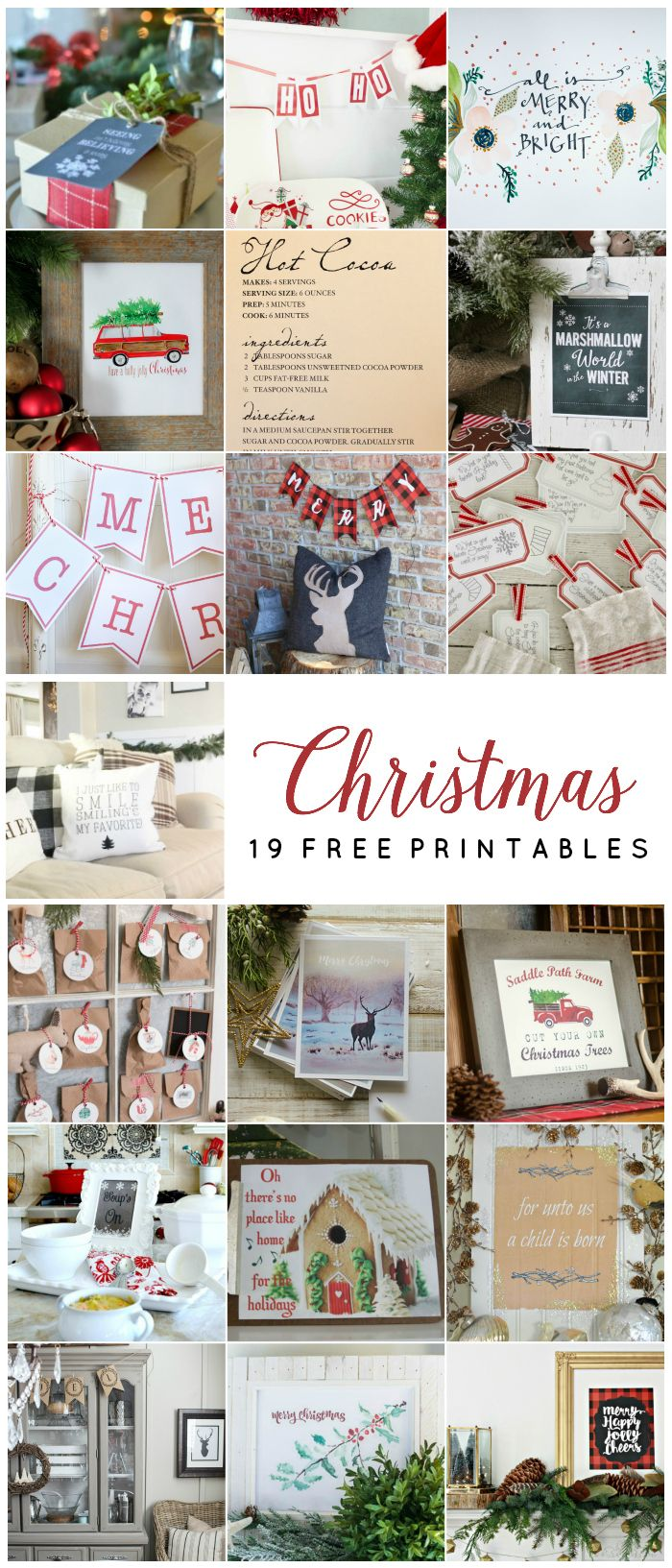 19 New & Fabulous Free Christmas Printables - perfect for decorating or gift giving eclecticallyvintage.com