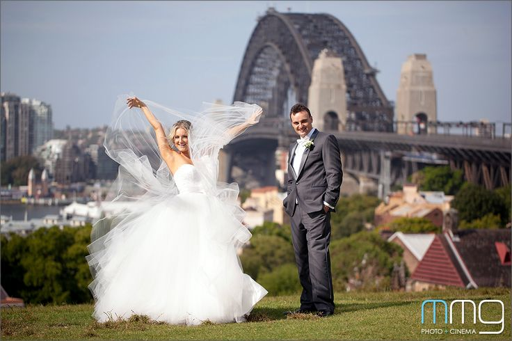 Flight of the wedding dress, with Beautiful Sydney Views of the Harbour Bridge  @ Observatory Hill | MMG Photo + Cinema