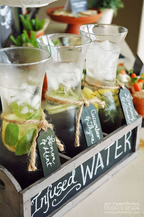 Keep your guests hydrated with a variety of infused water! Lemon & Mint, Cucumber & Thyme, Rosemary & Lemon...