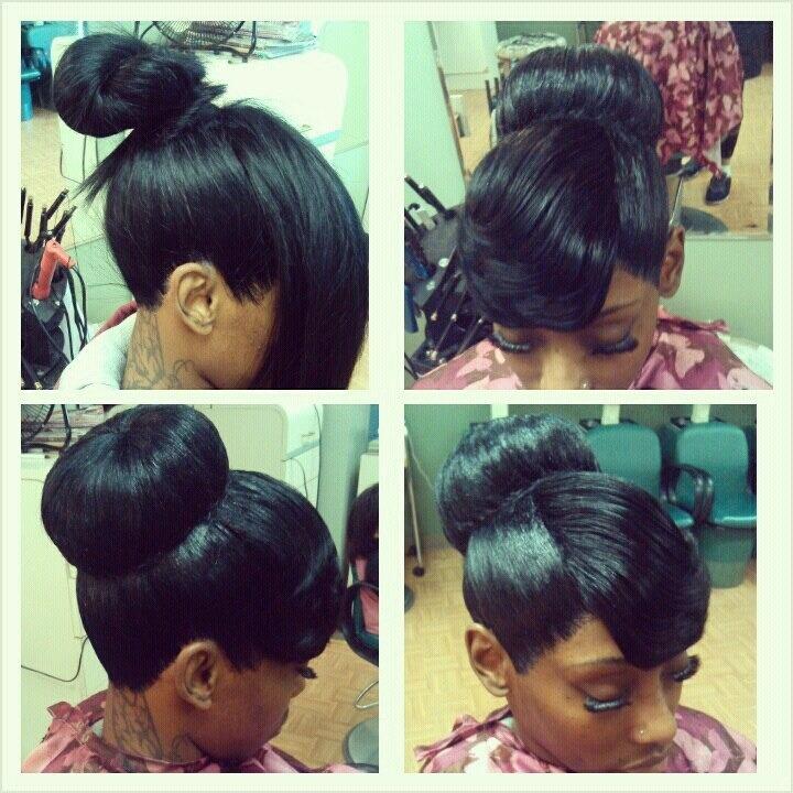 Weave Bun Hairstyles With Bangs
