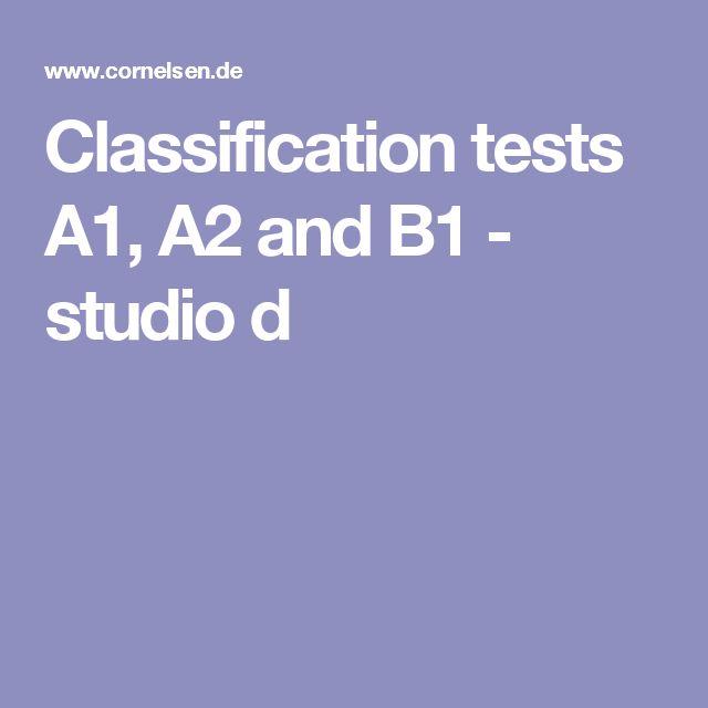 Classification tests A1, A2 and B1 - studio d