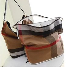 british style vintage plaid canvas shoulder bag bucket bag femme sac a main women messenger bags women handbag sacoche 7813(China (Mainland))