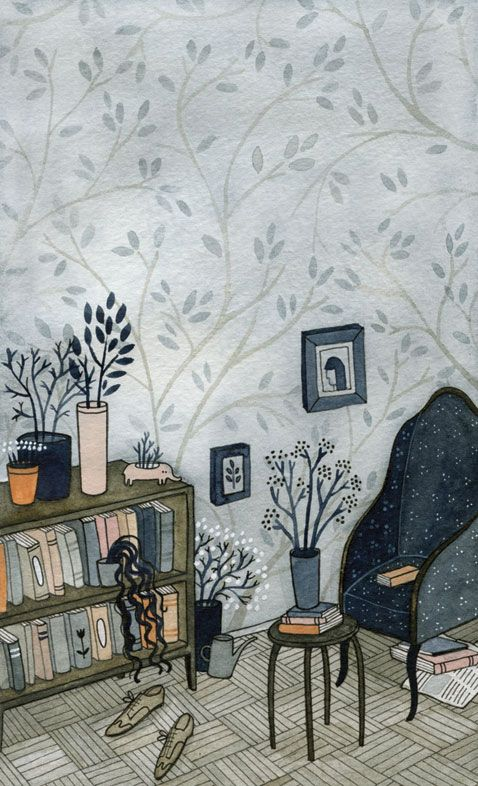 Yelena Bryksenkova. Cover illustration for la vida interior de las plantas de interior by patricio pron