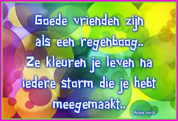 Goede vrienden zijn als een regenboog. Ze kleuren je leven na iedere storm die je hebt meegemaakt