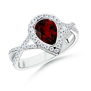 Angara Pear Ruby and Diamond Curved Cross Ring in 14k White Gold HyPOgC5