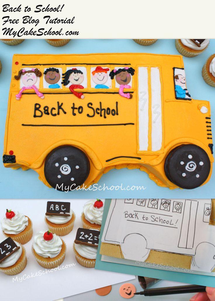 Free Back to School themed Cake & Cupcake Blog Tutorial!- MyCakeSchool.com