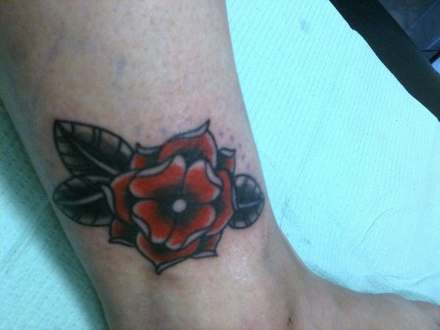Rose ankle tattoo | Tattoos | Pinterest