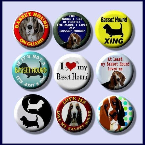 Bassett Hound dog breed pinback button set by Yesware11 on Etsy!