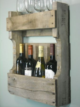 Wine glass and bottle rack from reclaimed pallet. good for a barn style