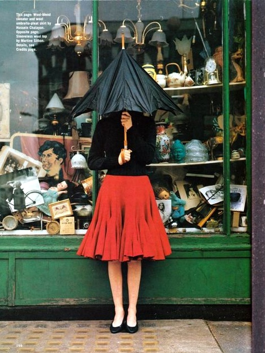 fun!: Fashion, Looks Book, Dolly Parton, Tim Walker, Red Umbrellas, Editorial Photography, Rainy Day Outfit, Shops Front, Red Skirts