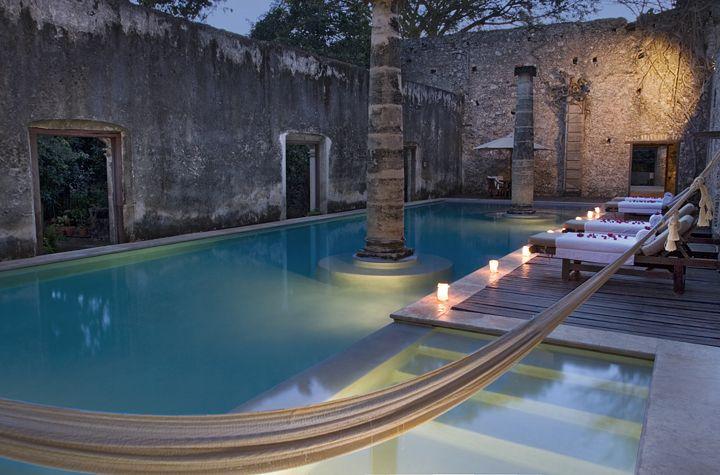 1. Hacienda Ruins repurposed as Swimming Pools        Hotels pictured:Hacienda Puerta Campeche / Hacienda Uayamon, both in Mexico.    2. Dean Martin and Frank Sinatra's Hamburger Recipes  Found on imgur    3. A fashion shoot on location at Jimi Hendrix