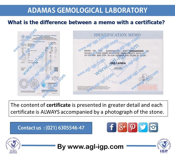 For memos and certificates sample can be viewed in our website www.agl-igp.com