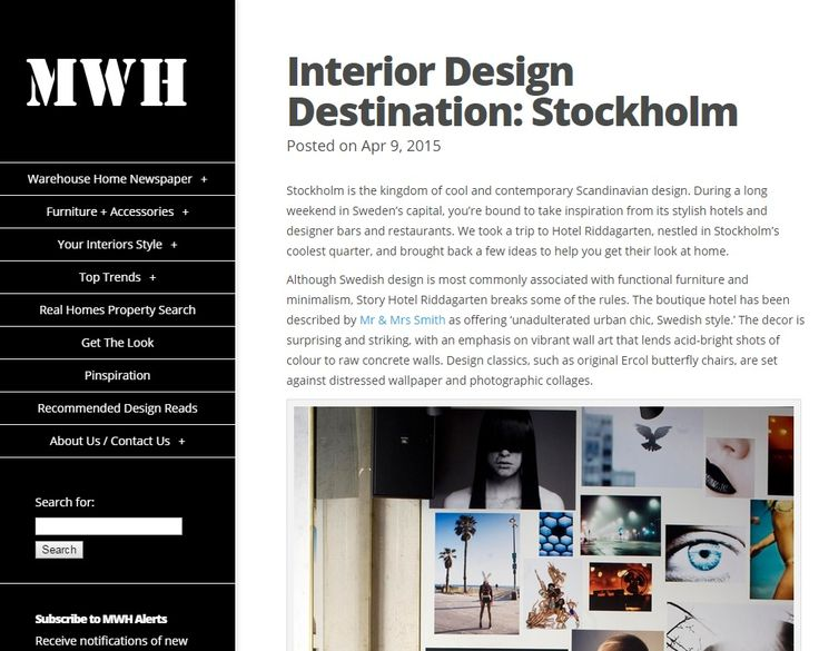 Interior Design Destination: Stockholm by @mywarehousehome, featuring our Pencher wall light - April 2015
