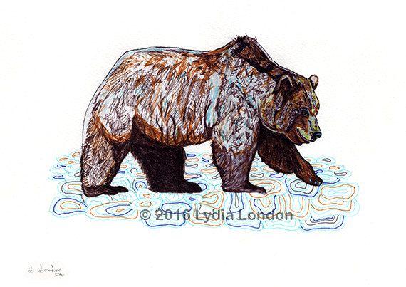 Grizzly Bear Letter Size Digital Print by LydiaLondonArtCanada