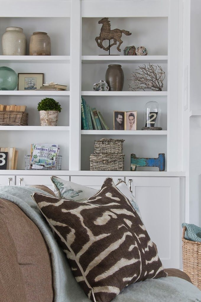 Tranquil Aqua And Beige Living Room With White Built In Bookcases Photo Jennifer Kessler Design Sherry Hart Designs