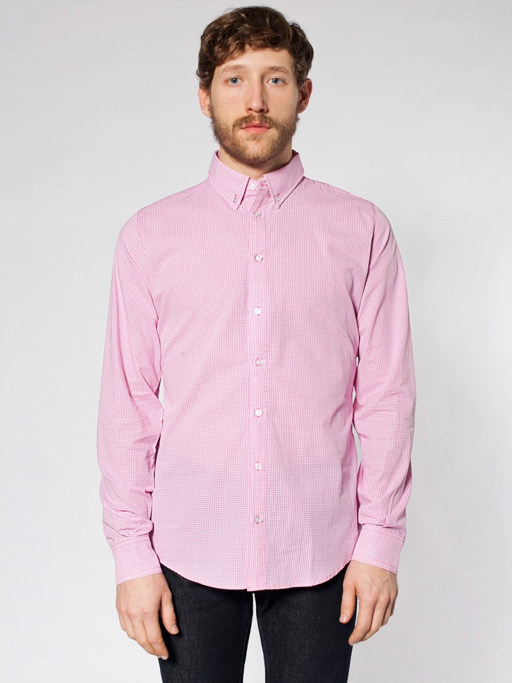 Gingham Long Sleeve Button-Down Shirt | Button-Ups | New & Now's Men | American Apparel