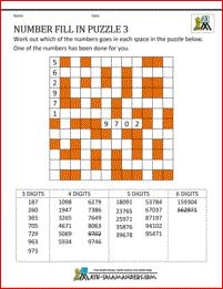 Printable Math Puzzles - Number Fill in Puzzle 4