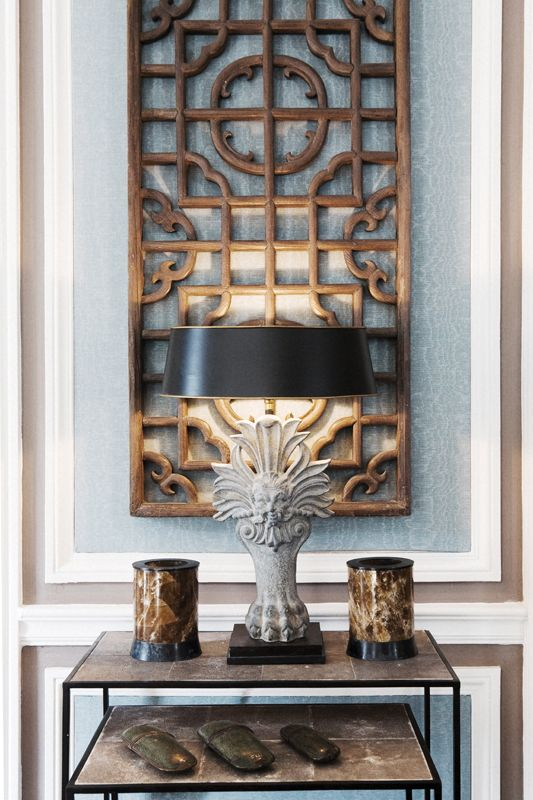 http://www.pinterest.com/joliesarts ∗  »☆Elysian-Interiors ♕Simply divine #Interiordesign ~ Chinese & Asian style Interiors  ~ Christopher Noto by fabien lemaire, via Behance. Chinese antique screen wall hanging. #Asian #interior