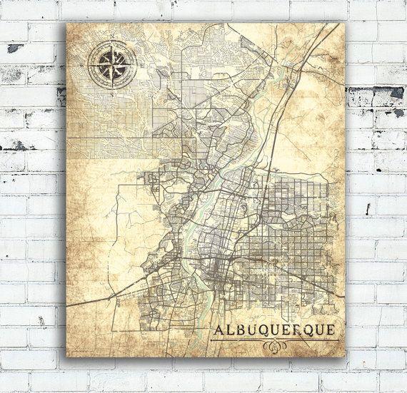 Albuquerque Nm Canvas Print New Mexico Vintage Map Albuquerque Nm City Art Print Town Plan Poster Vintage Map Retro Old Antique Large Map