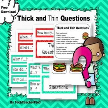 Free Download - Thick and Thin QuetsionsUsed many times in the classroom, thick and thin questions are a great way to encourage students to pose interest, deeper questions and move their understanding towards higher order thinking. I have printed, laminated and then placed magnets on the back so I can throw these questions quickly on to the whiteboard and test students understanding.