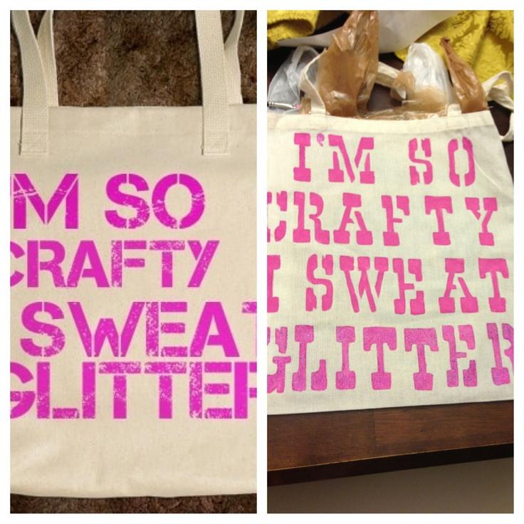 I'm so crafty I sweat glitter tote made for @alishalynn_