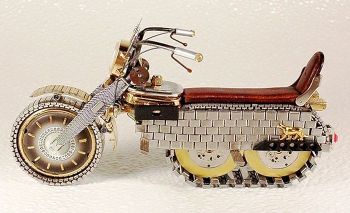 miniature watch motorcycles by dmitry khristenko   Talk about creative up-cycling (pun intended!)