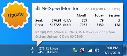 Download And Monitor Internet Network Speed By NetSpeedMonitor