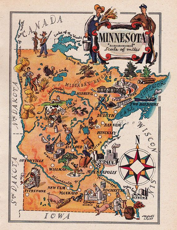 93 best genealogy maps us images on pinterest american history map of minnesota from 1946 by french artist jacques liozu digital download sheet 1726 malvernweather Images