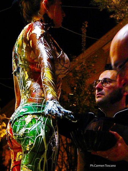 Il body painting ed il cioccolato insieme, con Miguel Gomez e Tommaso Perrucci