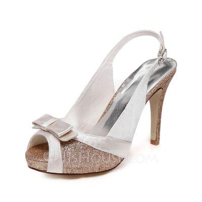 Women's Peep Toe Sandals Stiletto Heel Satin Sparkling Glitter Wedding Shoes