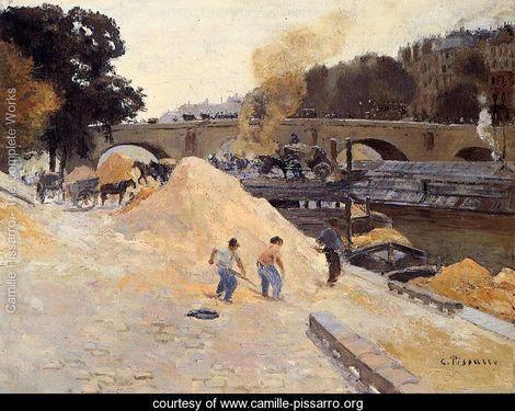 The Banks of the Seine in Paris, Pont Marie, Quai d'Anjou - Camille Pissarro