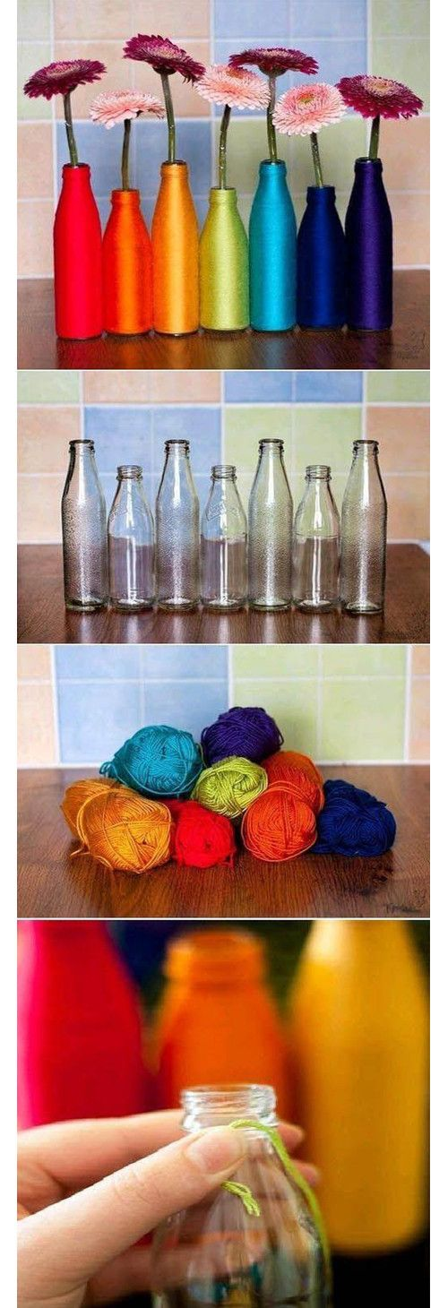 Colored bottles made of yarn. I don't know if I have the patience or am meticulous enough to do this, but I'd like to try.