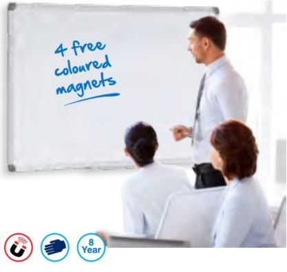 Excellent hard wearing magnetic surface for general use applications. For use with dry wipe pens. Can be mounted landscape or portrait. Aluminium frame, concealed corner mounting. Supplied with Pen tray and fixings. Surface guaranteed for 8 years. Ideal for all lighter to medium whiteboard writing users.