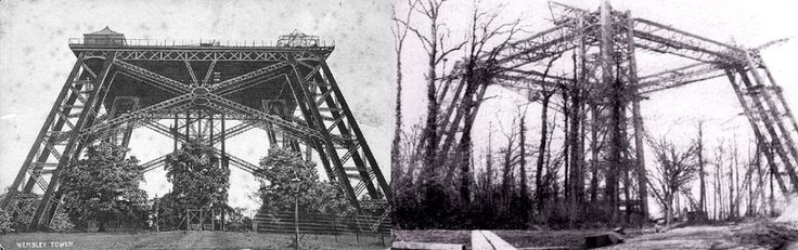 London's Watkin's Tower  The construction of Watkin's tower started in 1891 but was abandoned in 1894 thanks to a lack of funds and interest. The tower's design drew influences from the Eiffel Tower, built between 1887 and 1889.   The site's now been destroyed and currently houses Wembley Stadium.