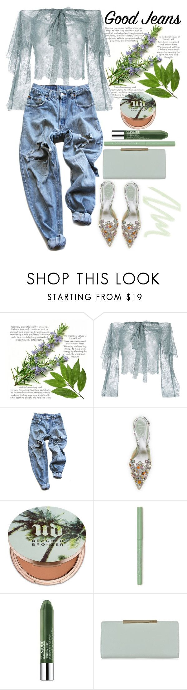 """""""Distressed Denim"""" by loves-elephants ❤ liked on Polyvore featuring Philosophy di Lorenzo Serafini, Levi's, René Caovilla, Urban Decay, Clinique, Ted Baker and Dolce&Gabbana"""