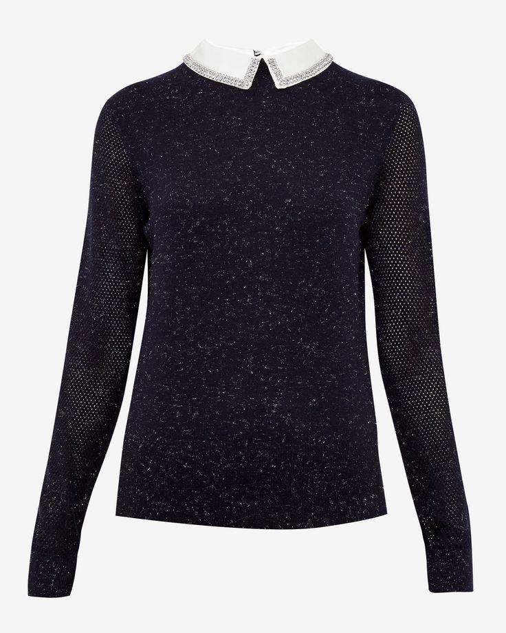 Metallic collar jumper - Navy | Knitwear | Ted Baker UK