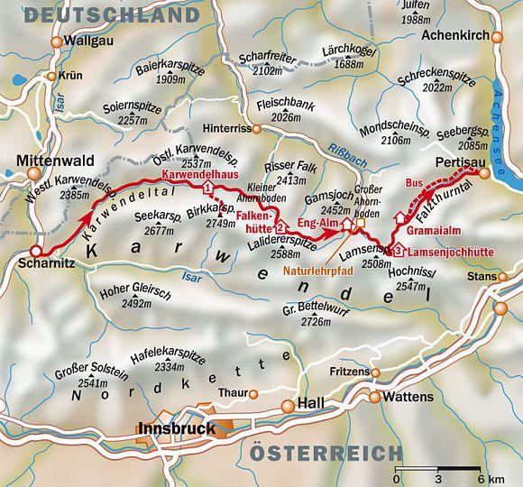 """Hier finden Sie die genaue Routenbeschreibung für die Wanderung """"Klassische Karwendeldurchquerung""""."""