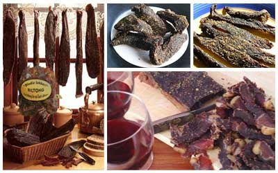 Biltong -  differs from jerky in two distinct ways: The meat used in biltong can be much thicker while jerky is normally very thin meat. The vinegar and salt in biltong along with the drying process, cures the meat as well as adding texture and flavour. Jerky is dried without vinegar.
