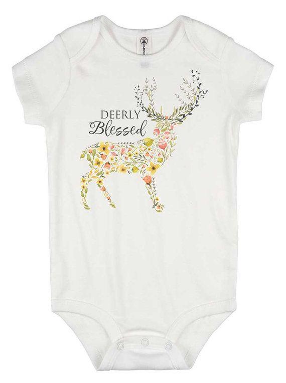 Boho Deer onesie®- Deerly Blessed, Floral Deer, Boho Baby Gift, Newborn Girl Gift, Boho Romper, Blessed Baby Shirt, Floral Baby Bodysuit