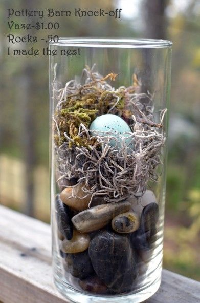 pottery barn knock off - Tall cylindrical vase with rocks, moss, and egg