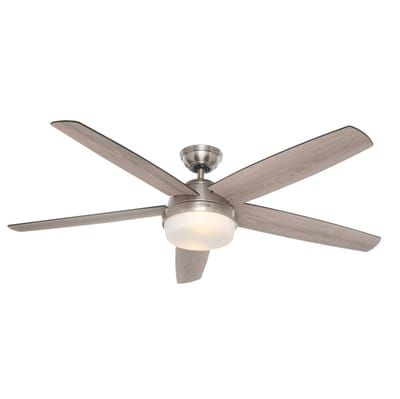 cd89a1435ff Hunter Salido 60 in. LED Indoor Brushed Nickel Ceiling Fan with Light and  Remote-59229 - The Home Depot