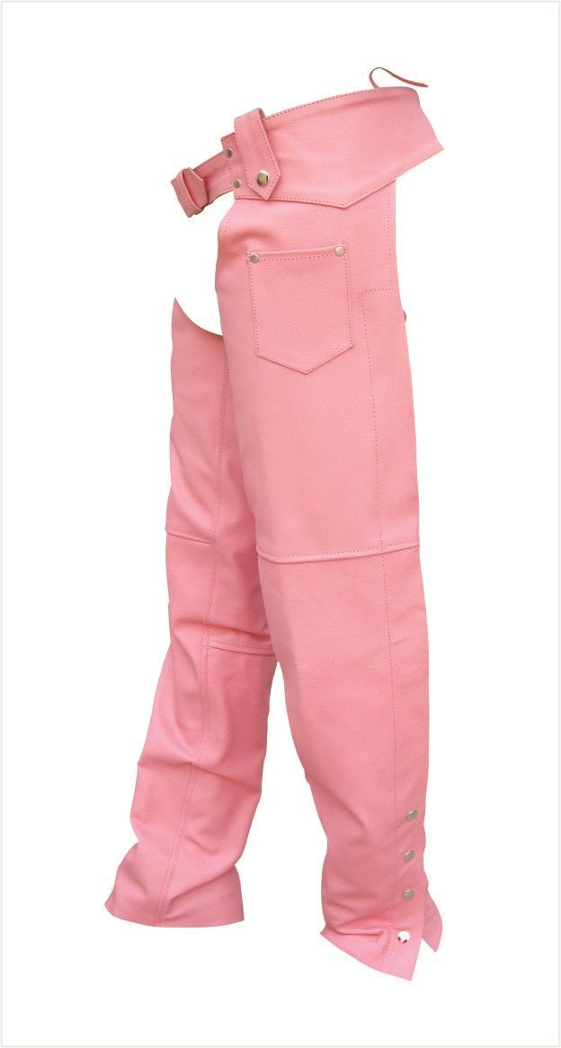 Womens Pink Cowhide Leather Motorcycle Chaps By Allstate Mymotorcycleclothing