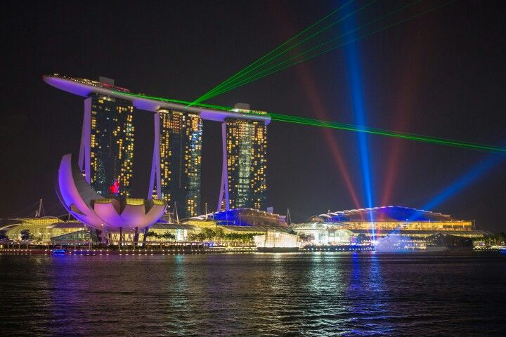 Marina Bay Sands Hotel, with laser lights display