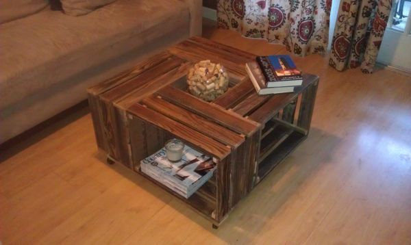 16 best wood crate coffee tables images on pinterest for Coffee table made out of wooden crates