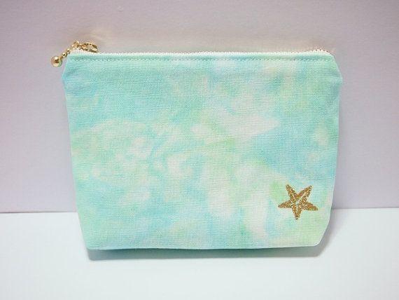 Tie dye cotton linen zipper mini size  pouch with by BytheSeajewel