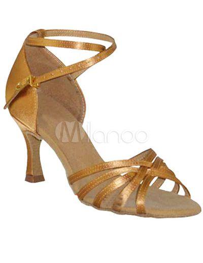 Zapatos de bailes latinos de color marrón con tiras cruzadas - Milanoo.com