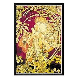 Alphonse Maria Mucha (1860 - 1939) was a Czech Art Nouveau painter. However, he did a great many posters and prints. Title: Ivy Artist: Alphonse Maria Mucha Outer Dimensions: 30 inches high x 20 inche